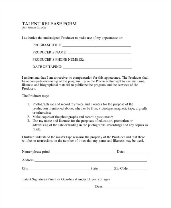 Sample Talent Release Form - 10+ Free Documents in Word, PDF