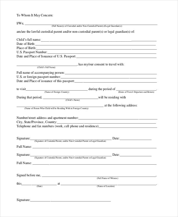 Child Travel Consent Form Usa  NodeCvresumePaasproviderCom