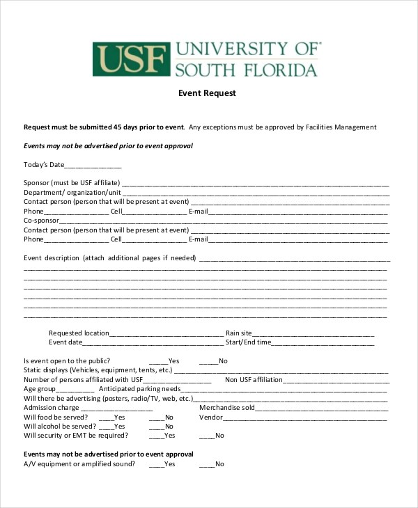 14+ Sample Event Request Forms Sample Forms - vendor request form