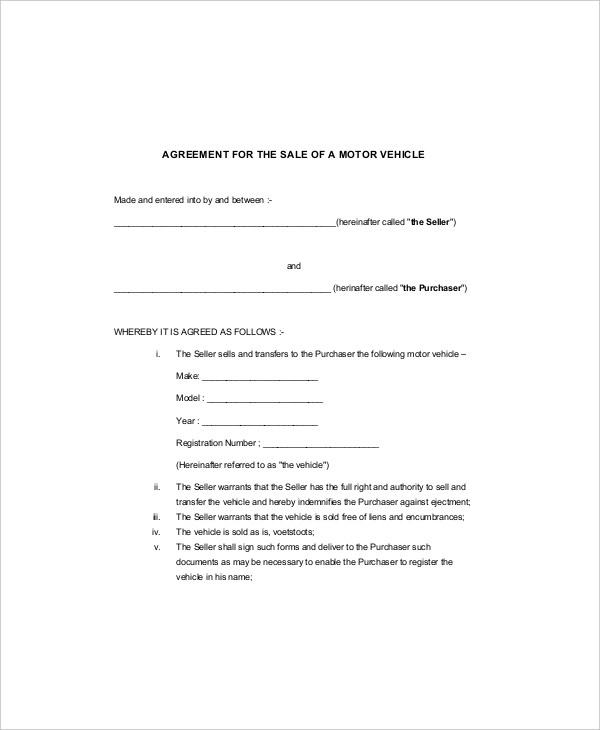 Sample Purchase Agreement Forms - 10 Free Documents in PDF, Word - sample vehicle purchase agreement