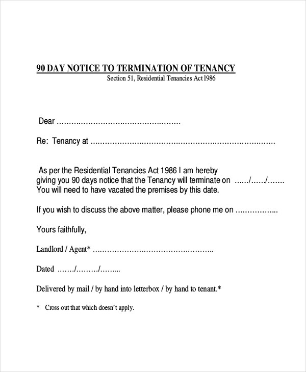sample notice form hitecauto - notice to vacate template