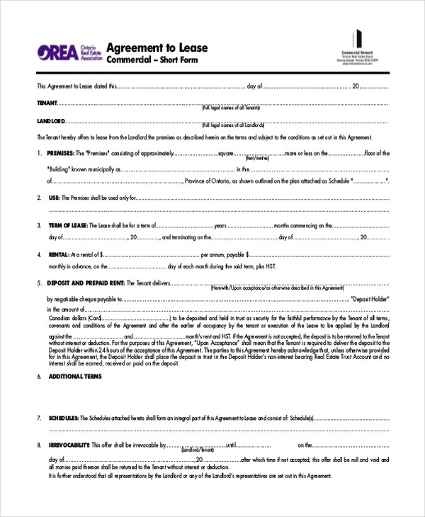 Sample Commercial Lease Agreement Form - 8+ Free Documents in PDF - commercial lease form
