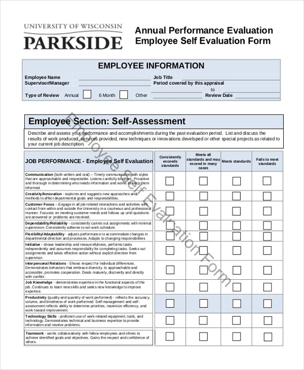 annual performance evaluation forms