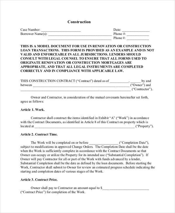 Sample Construction Form - 21+ free Documents in Word, PDF, Excel - blank construction contract