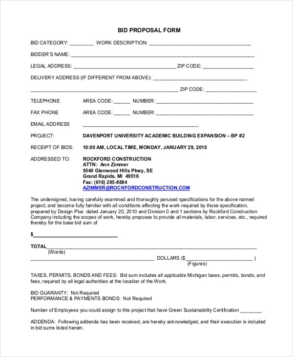 Sample Proposal Forms - 19+ Free Documents in Word, PDF - free proposal forms