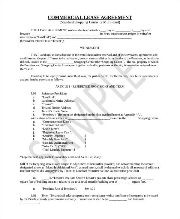 Sample Commercial Lease Agreement Form - 8+ Free Documents in PDF - commercial leases agreement