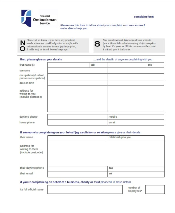 Sample Complaint Form - 22+ Free Documents in Word, PDF