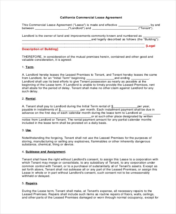 Sample Commercial Lease Agreement Form - 8+ Free Documents in PDF - commercial lease agreement sample