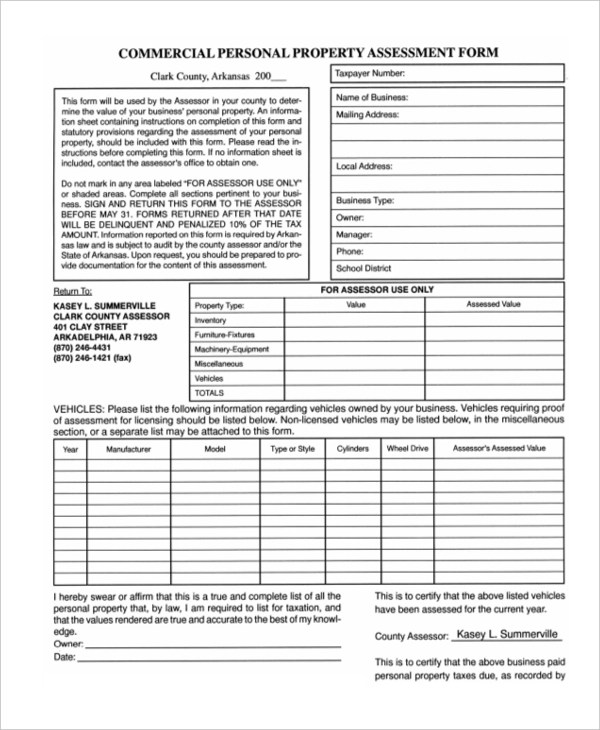 Sample Property Assessment Forms   8+ Free Documents In Word, PDF   Sample  Property