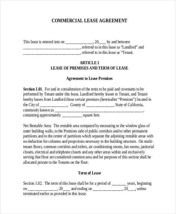 sample commercial lease agreement - Funfpandroid