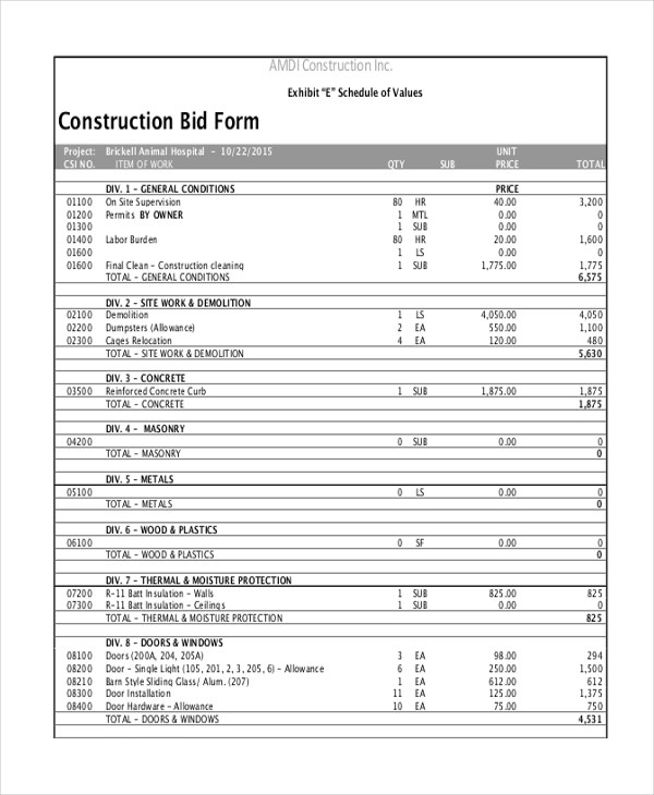 contractor bid sheet - Boatjeremyeaton - construction proposal form