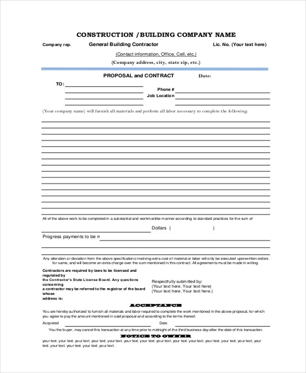 Sample Construction Form - 21+ free Documents in Word, PDF, Excel