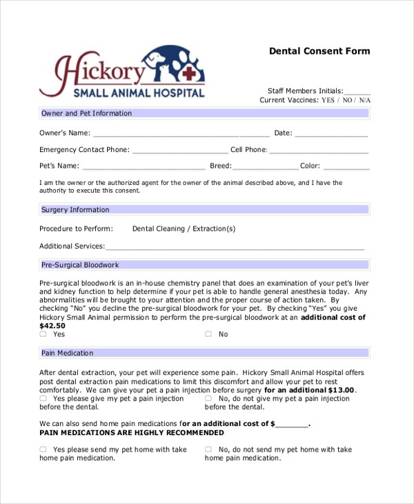 Sample Consent Form - 26+ Free Documents in Word, PDF - dental consent form