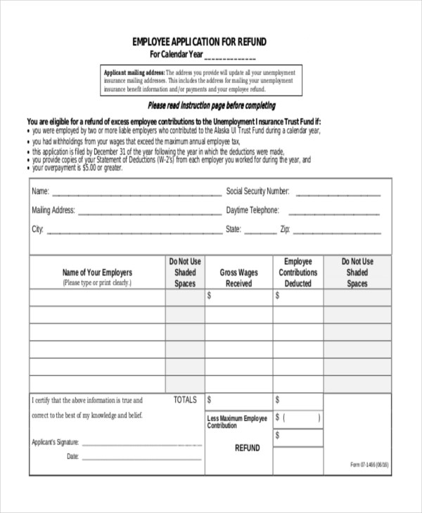Sample Employee Application Form - 10+ Free Documents in Word, PDF - Employee Application