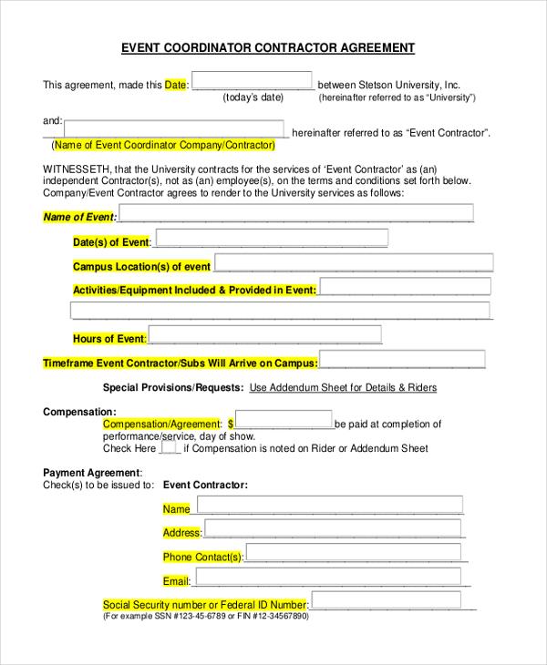 event agreement contract - Ozilalmanoof