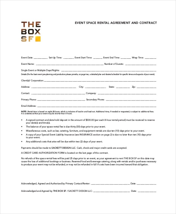 Event Rental Agreement Choice Image - Agreement Letter Format