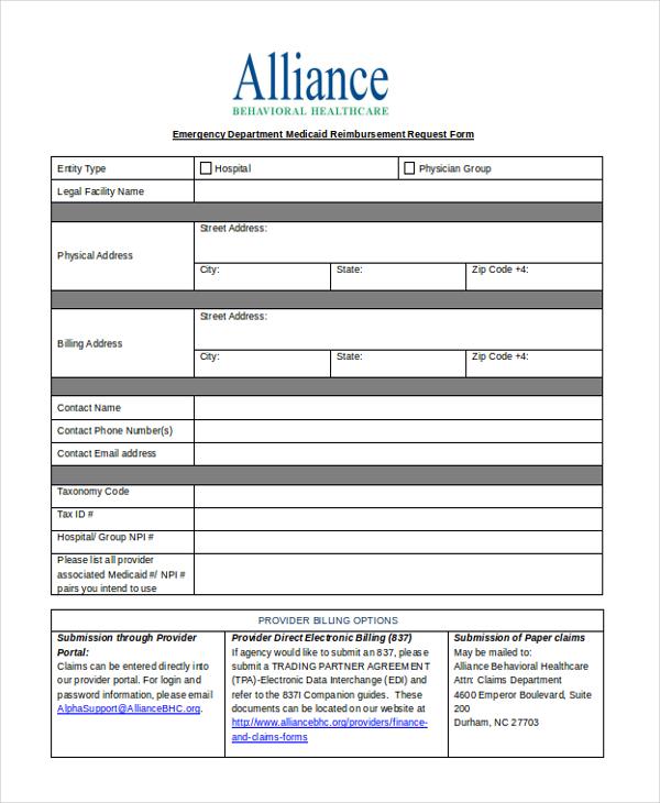 Reimbursement Request Form - Design Templates