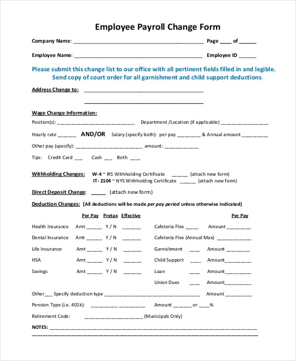 payroll change form template free - Romeolandinez - employee change form