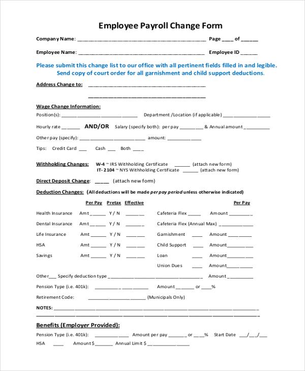 payroll change form - Ibovjonathandedecker