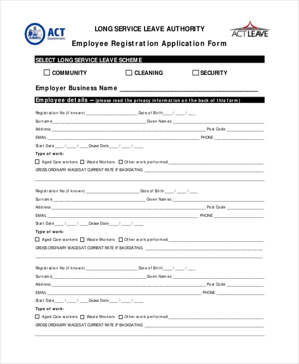 Sample Employee Application Form - 10+ Free Documents in Word, PDF - employee application forms