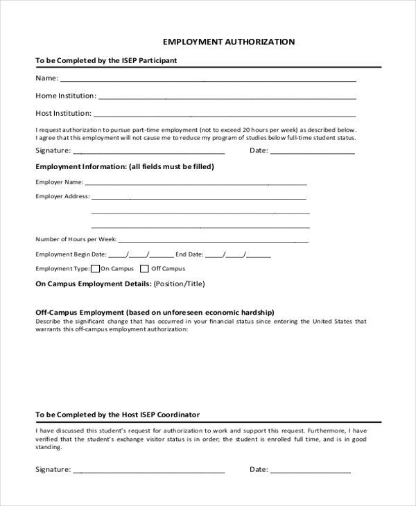 Sample Employment Form - 26+ Free Documents in Word, PDF - sample employment authorization form