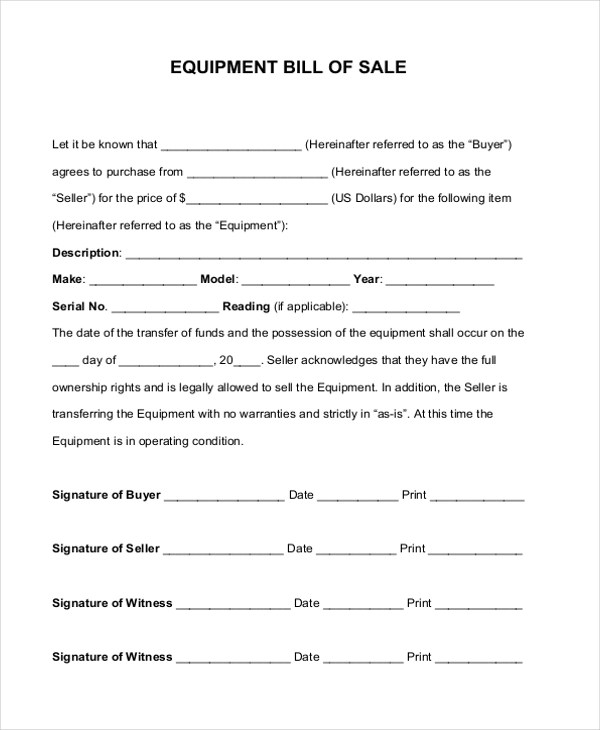 Sample Bill of Sale Forms - 22+ Free Documents in Word, PDF - equipment bill of sale
