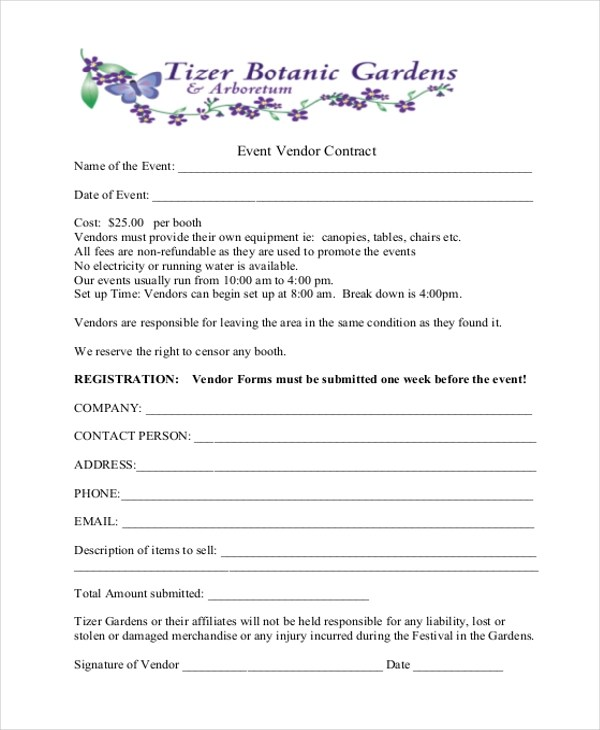 Sample Event Contract Form - 10+ Free Documents in Word, PDF - sample vendor contract