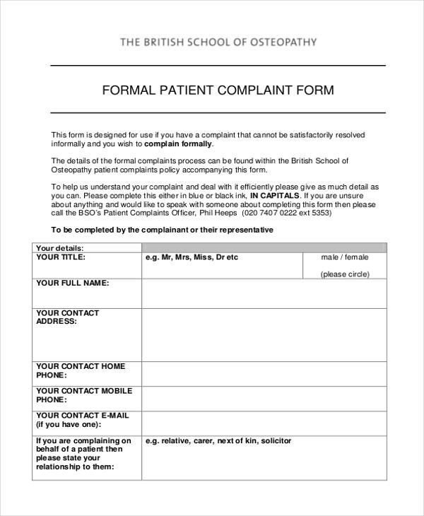 Sample Patient Complaint Form - 10+ Free Documents in PDF - sample patient complaint form