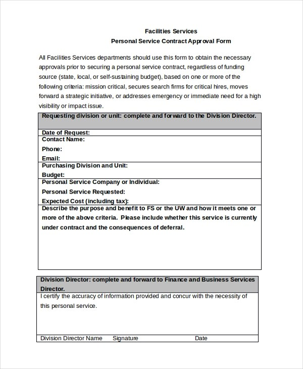 Service Contract Approval Form - 8+ Free Documents in PDF, Doc - service contract form