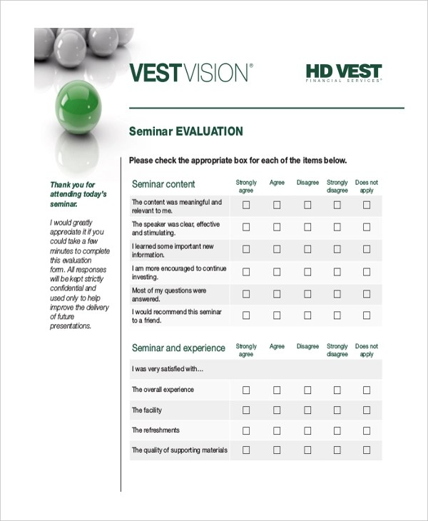 Sample Financial Evaluation Forms - 10+ Free Documents in Word, PDF - seminar evaluation form