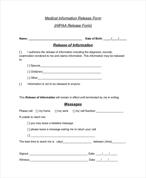 Sample HIPAA Release Form - 10+ Free Documents in PDF - medical release form sample