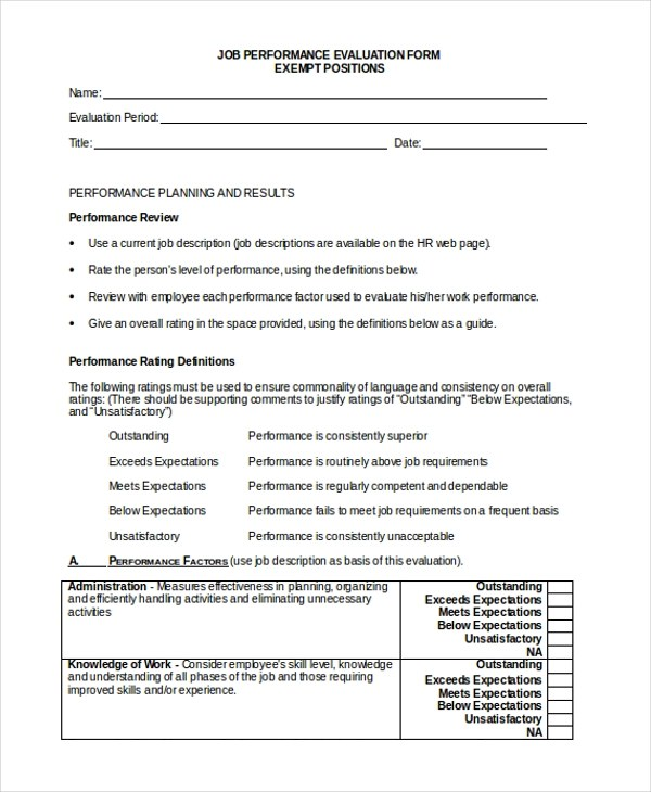 Sample Job Evaluation Form - 10+ Free Documents in Word, Excel, PDF