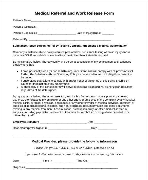 Sample Work Release Form - 10+ Free Documents in Word, PDF