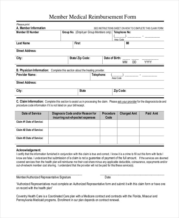 Sample Medicaid Reimbursement Form - 8+ Free Documents in Word, PDF - sample medicare application form