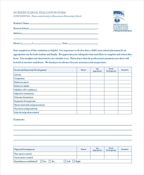 Employee Evaluation Form Sample Doc | Small Cover Letter Resume