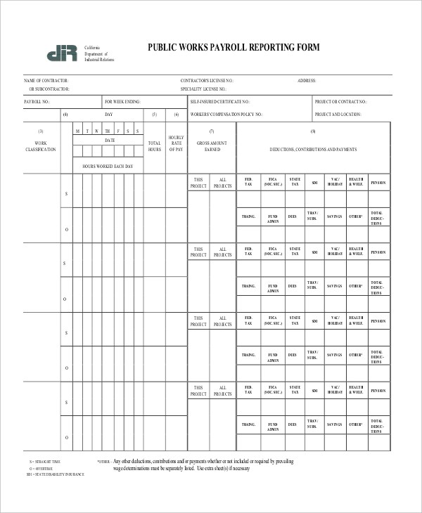 Sample Payroll Forms - 19+ Free Documents in Word, PDF - certified payroll form