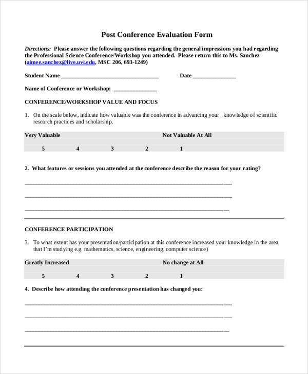 Sample Program Evaluation Form - 11+ Free Documents in PDF - sample workshop evaluation form example