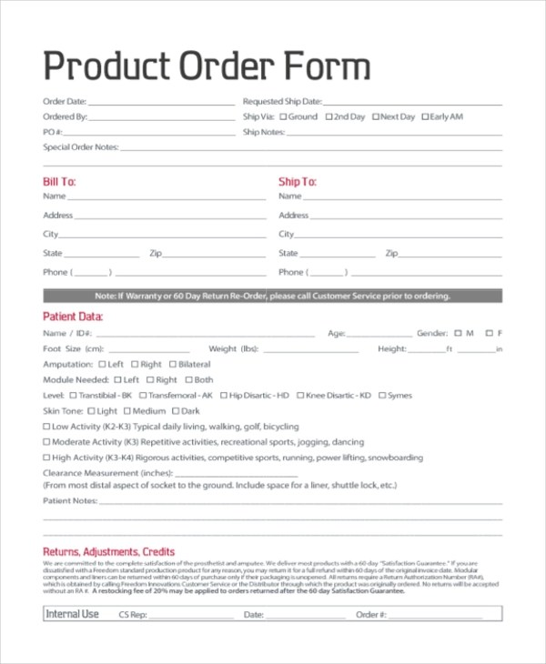 Sample Order Form - 20+ Free Documents in PDF
