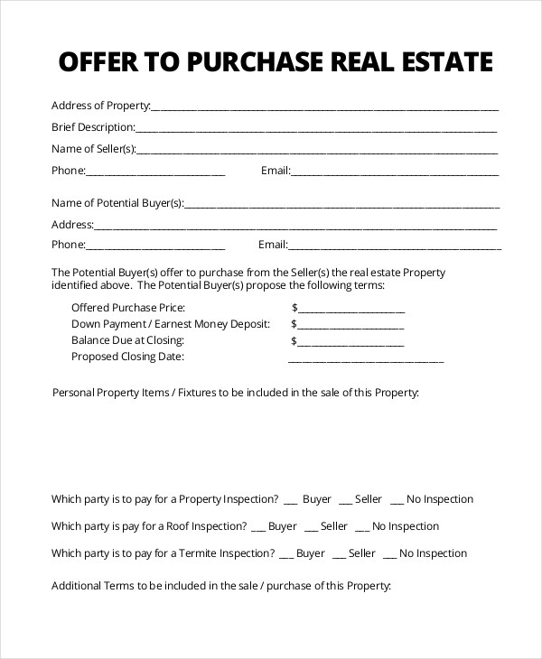 real estate offer form - Antaexpocoaching