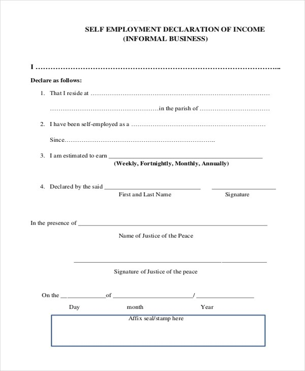 Sample Self Employment Form - 9+ Free Documents in PDF