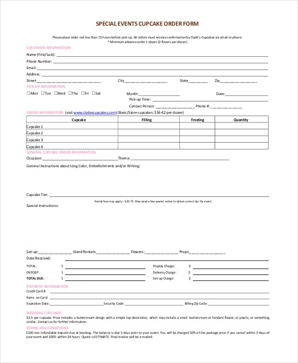 Event Order Form  Event Order Templates Free Sample Example