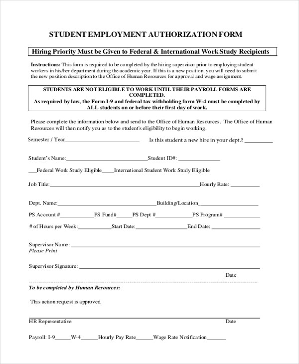 Sample Employment Authorization Form - 10+ Free Documents in Word, PDF - sample employment authorization form