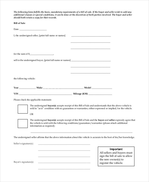 Sample Bill of Sale Forms - 22+ Free Documents in Word, PDF - sample bill of sale