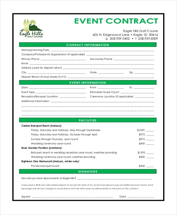 Sample Event Contract Form - 10+ Free Documents in Word, PDF