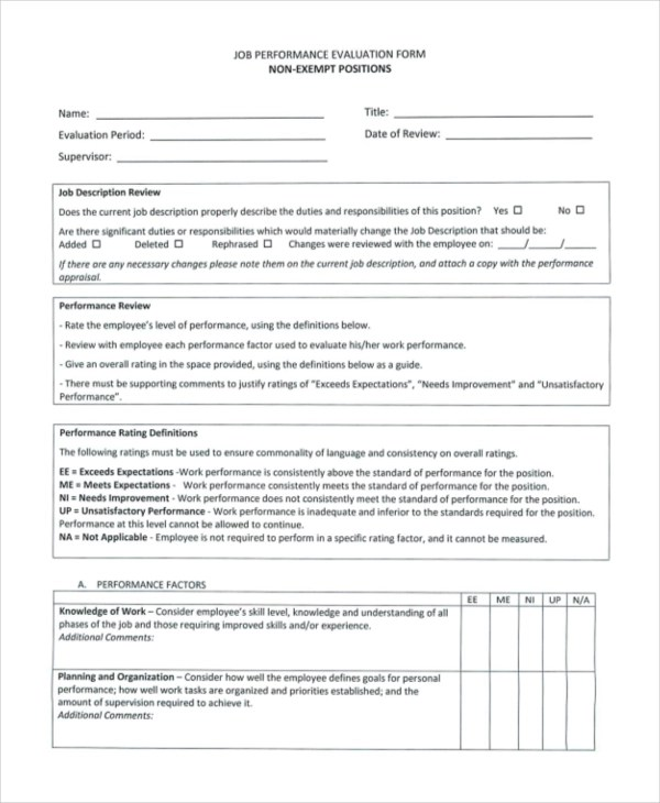 Sample Job Performance Evaluation Forms - 10+ Free Documents in - job performance evaluation form templates