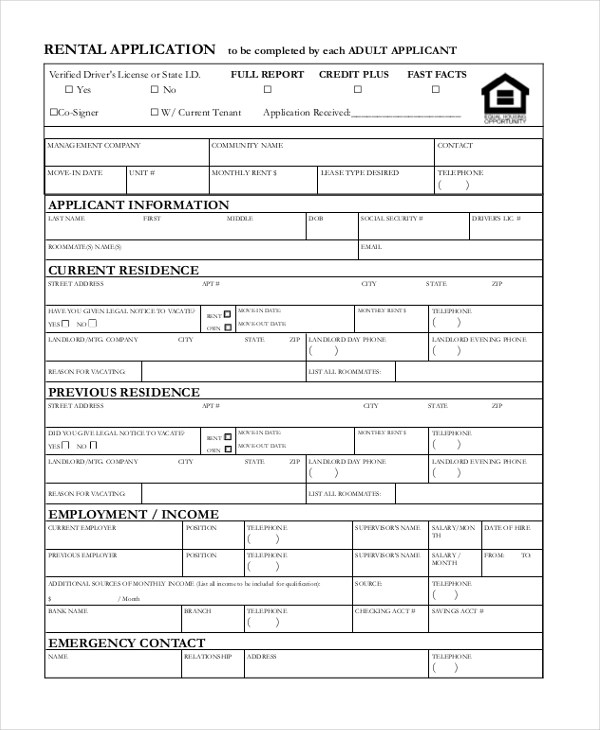 Rental Application Form - 10+ Free Documents in PDF, Doc - tenant application form