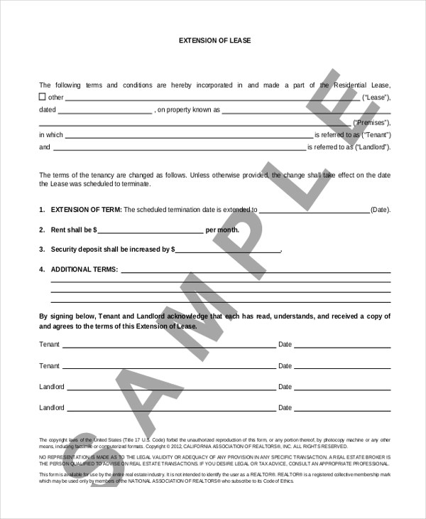 Lease Extension Forms - 8+ Free Documents in PDF - lease renewal form