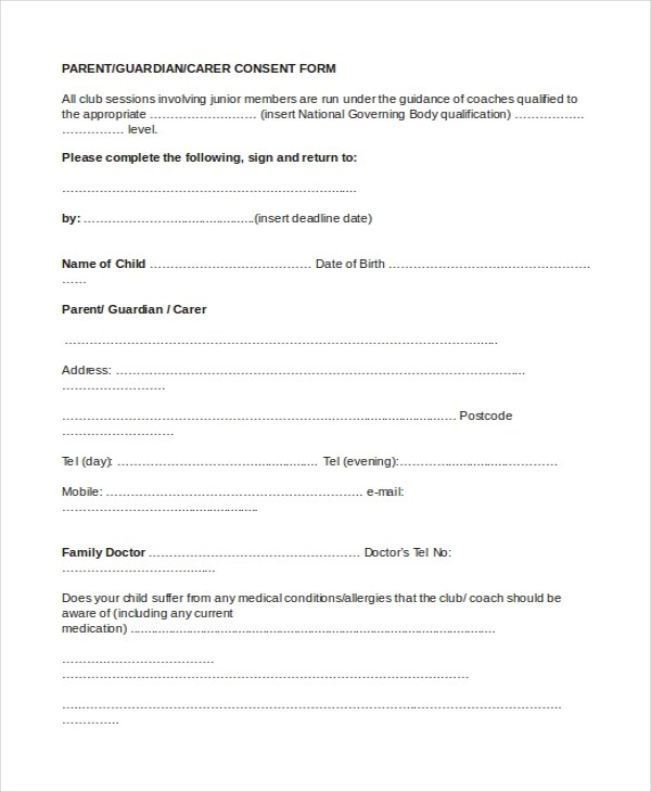 Sample Parental Consent Form - 10+ Free Documents in Word, PDF - parent consent forms