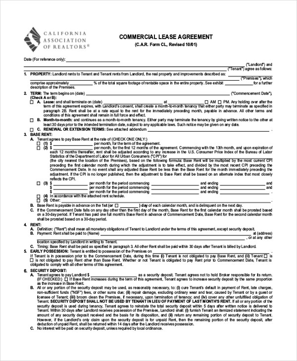 Sample Commercial Lease Agreement Form - 8+ Free Documents in PDF - commercial rent agreement format