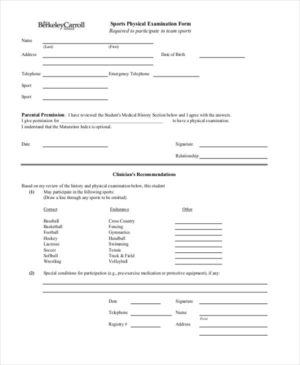 sample physical exam form - Ozilalmanoof - physical exam form